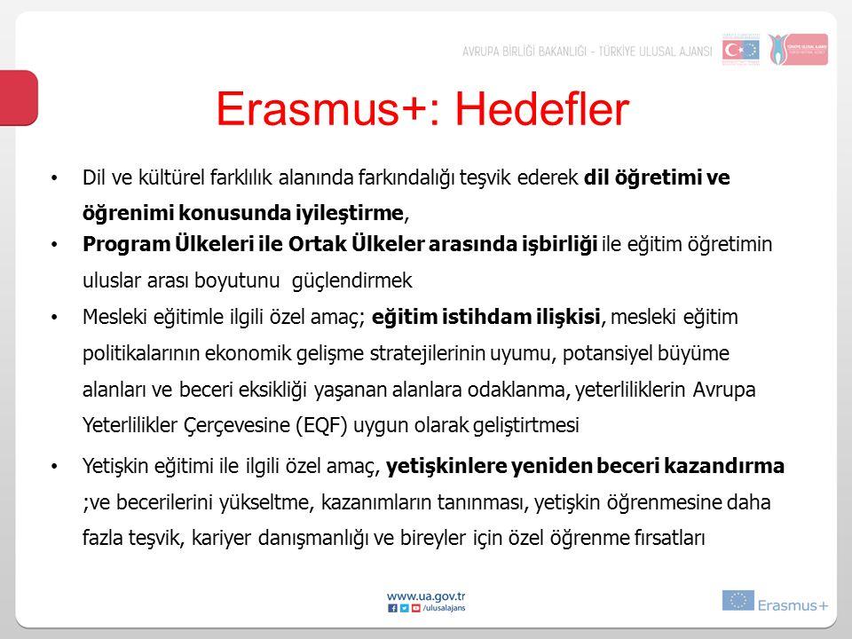 Erasmus+: Hedefler Dil ve kültürel farklılık alanında farkındalığı teşvik ederek dil öğretimi ve öğrenimi konusunda iyileştirme, Program Ülkeleri ile