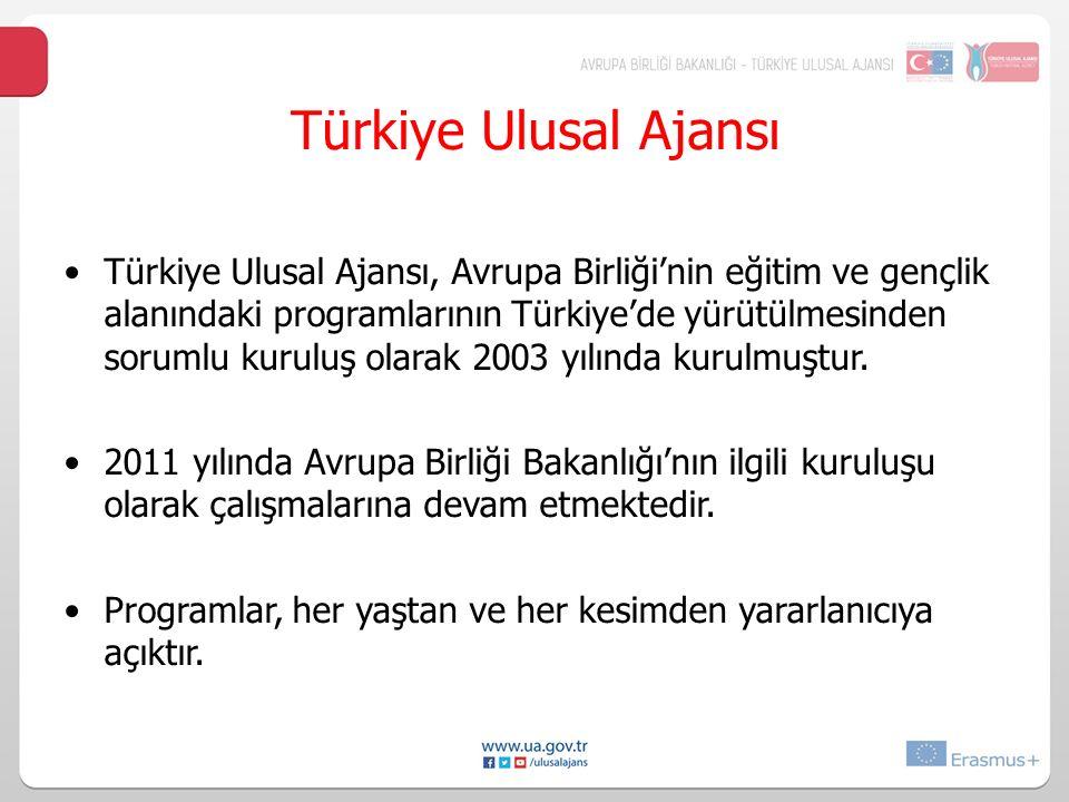 Türkiye UlusalAjansı Türkiye Ulusal Ajansı, Avrupa Birliği'nin eğitim ve gençlik alanındaki programlarının Türkiye'de yürütülmesinden sorumlu kuruluş