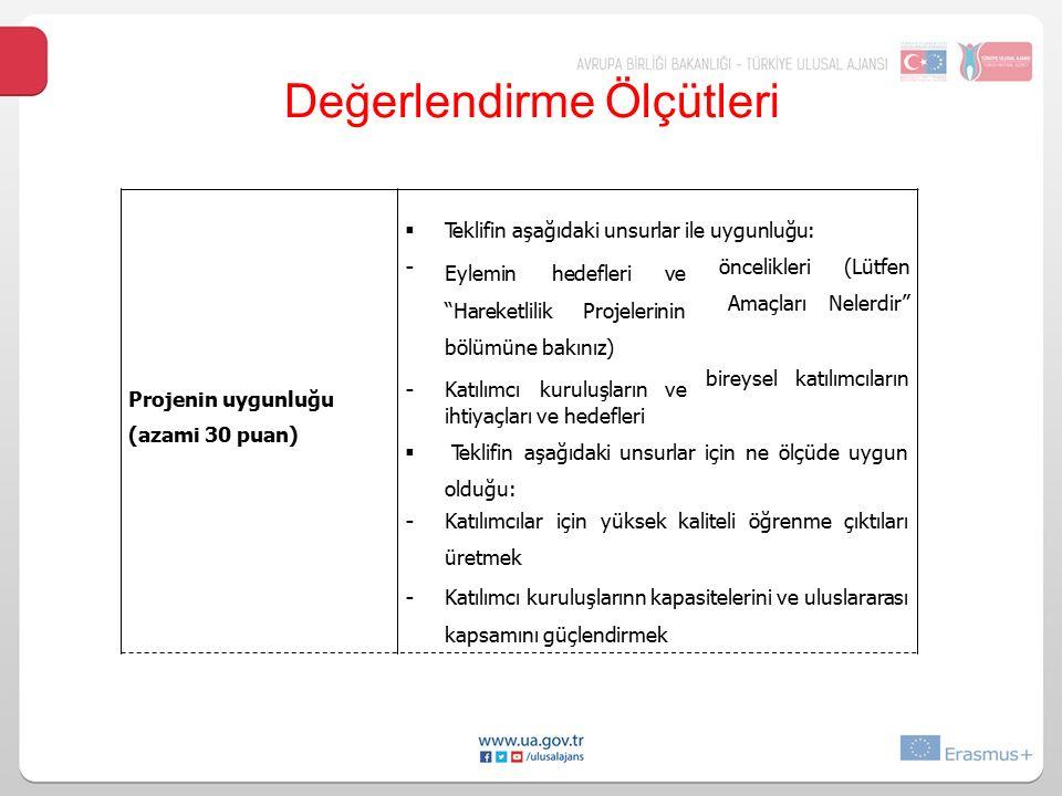 """Değerlendirme Ölçütleri Projenin uygunluğu (azami 30 puan)  Teklifin aşağıdaki unsurlar ile uygunluğu: - Eylemin hedefleri ve """"Hareketlilik Projeleri"""
