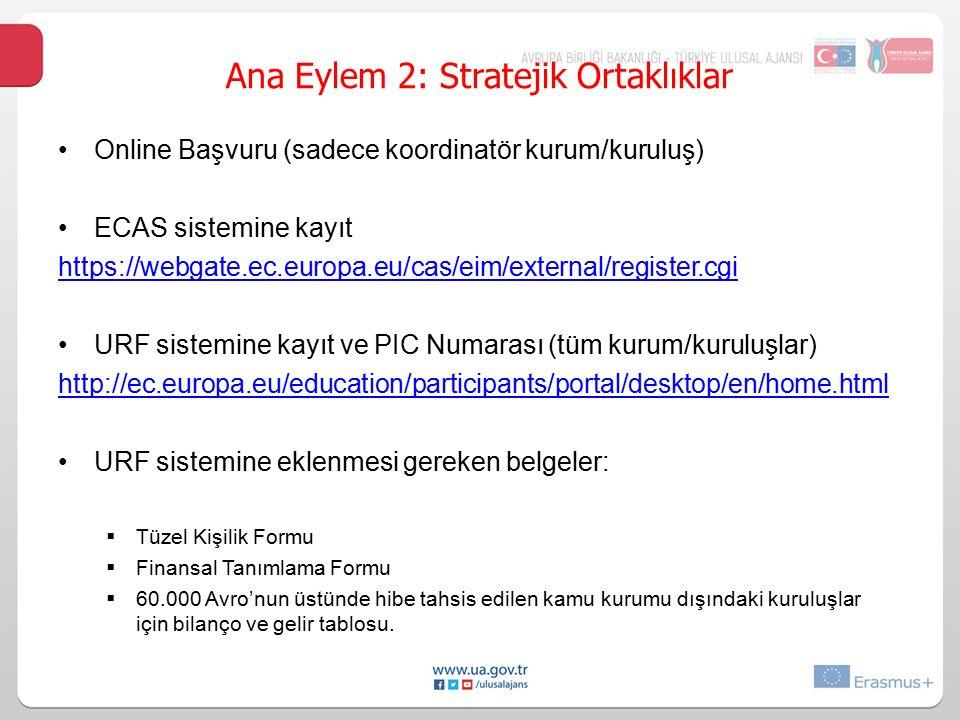 Online Başvuru (sadece koordinatör kurum/kuruluş) ECAS sistemine kayıt https:/ webgate.ec.europa.eu/cas/eim/external/register.cgi URF sistemine kayıt