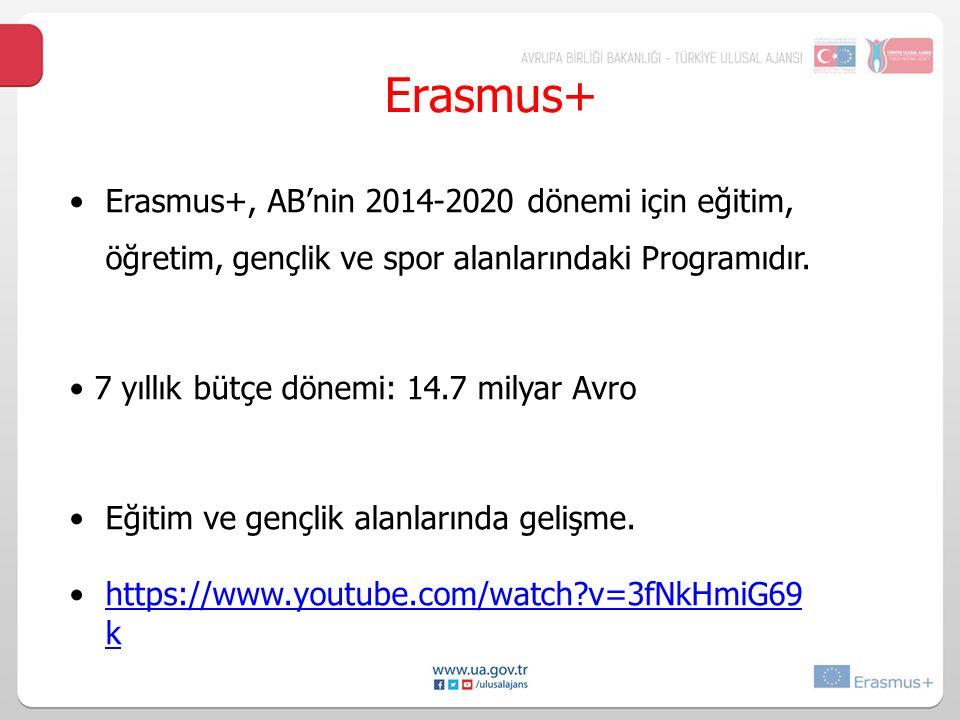 Erasmus+, AB'nin 2014-2020 dönemi için eğitim, öğretim, gençlik ve spor alanlarındaki Programıdır. 7 yıllık bütçe dönemi: 14.7 milyar Avro Eğitim ve g