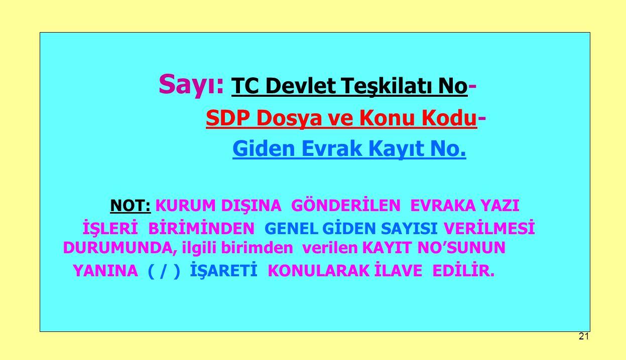 21 Sayı: TC Devlet Teşkilatı No- SDP Dosya ve Konu Kodu- Giden Evrak Kayıt No. NOT: KURUM DIŞINA GÖNDERİLEN EVRAKA YAZI İŞLERİ BİRİMİNDEN GENEL GİDEN