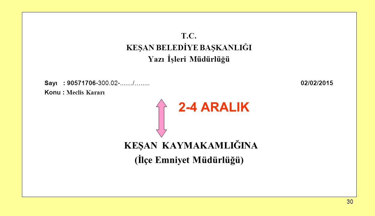 30 T.C. KEŞAN BELEDİYE BAŞKANLIĞI Yazı İşleri Müdürlüğü Sayı : 90571706-300.02-......./…..... 02/02/2015 Konu : Meclis Kararı 2-4 ARALIK KEŞAN KAYMAKA