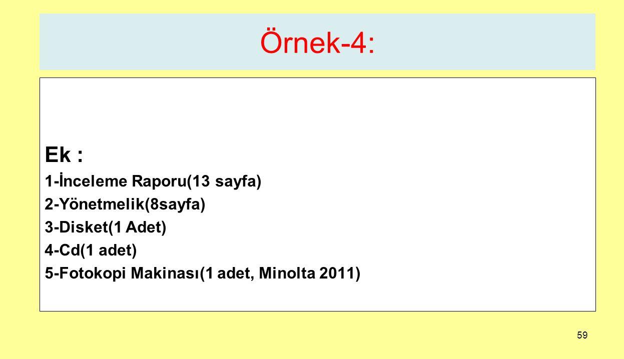 59 Örnek-4: Ek : 1-İnceleme Raporu(13 sayfa) 2-Yönetmelik(8sayfa) 3-Disket(1 Adet) 4-Cd(1 adet) 5-Fotokopi Makinası(1 adet, Minolta 2011)