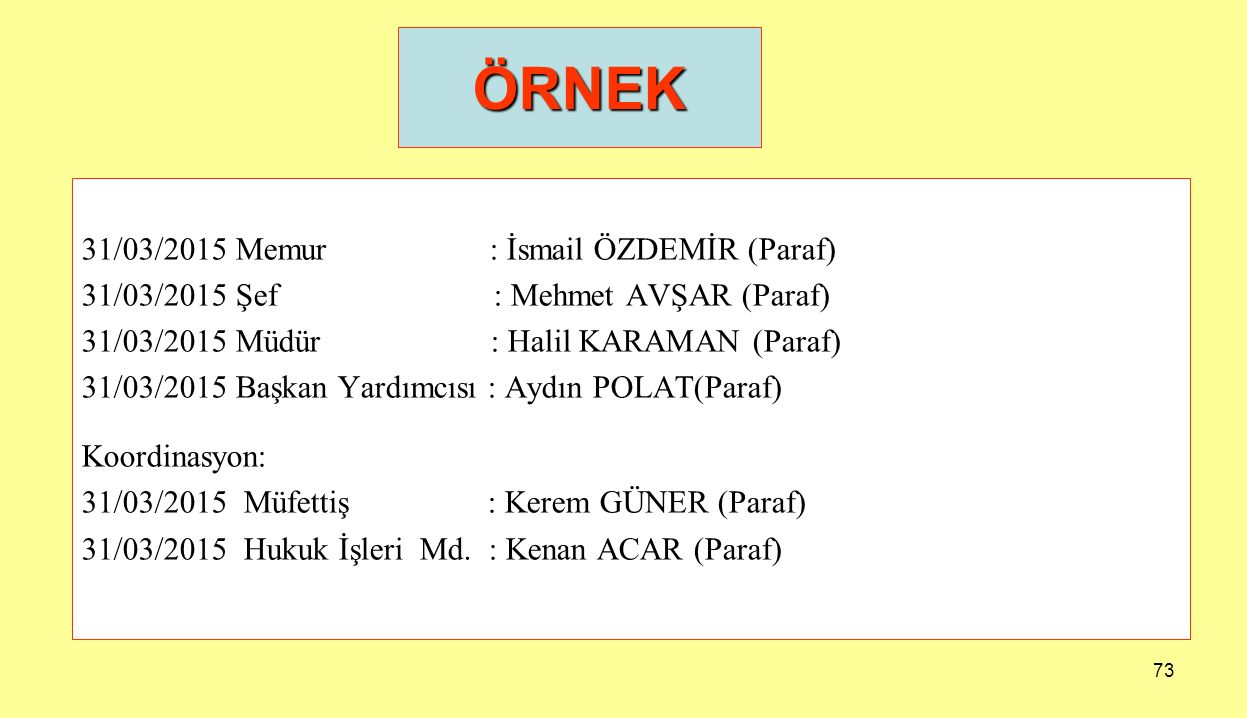 73 31/03/2015 Memur : İsmail ÖZDEMİR (Paraf) 31/03/2015 Şef : Mehmet AVŞAR (Paraf) 31/03/2015 Müdür : Halil KARAMAN (Paraf) 31/03/2015 Başkan Yardımcı