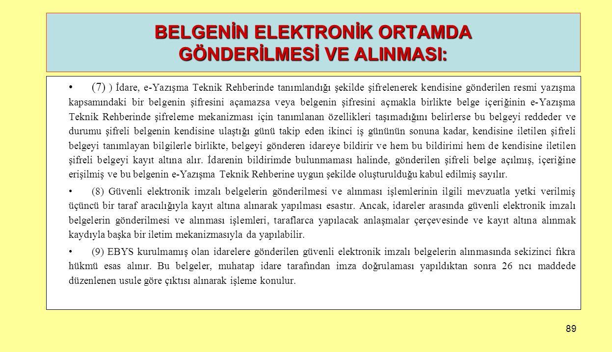 89 (7) ) İdare, e-Yazışma Teknik Rehberinde tanımlandığı şekilde şifrelenerek kendisine gönderilen resmi yazışma kapsamındaki bir belgenin şifresini a