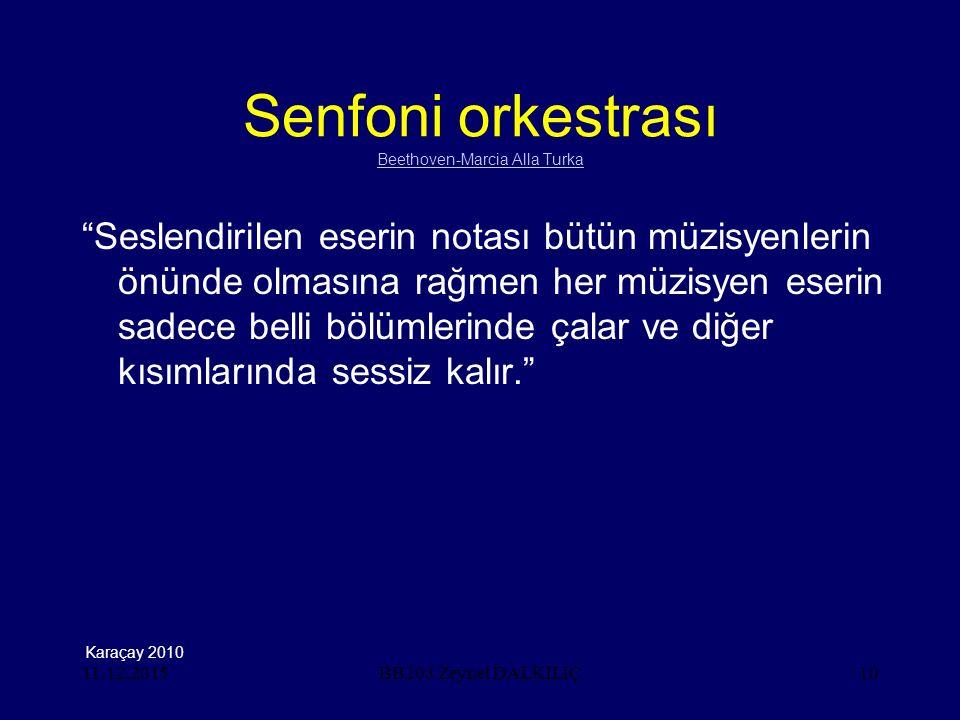 11.12.201510 Senfoni orkestrası Beethoven-Marcia Alla Turka Beethoven-Marcia Alla Turka Seslendirilen eserin notası bütün müzisyenlerin önünde olmasına rağmen her müzisyen eserin sadece belli bölümlerinde çalar ve diğer kısımlarında sessiz kalır. BB203 Zeynel DALKILIÇ Karaçay 2010