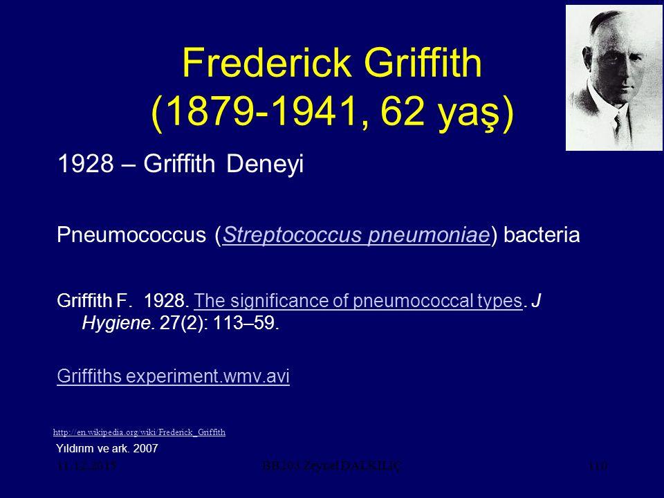 11.12.2015110 Frederick Griffith (1879-1941, 62 yaş) 1928 – Griffith Deneyi Pneumococcus (Streptococcus pneumoniae) bacteriaStreptococcus pneumoniae Griffith F.