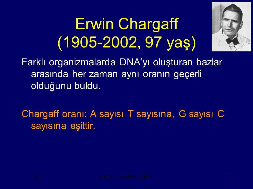 11.12.2015117 Erwin Chargaff (1905-2002, 97 yaş) Farklı organizmalarda DNA'yı oluşturan bazlar arasında her zaman aynı oranın geçerli olduğunu buldu.