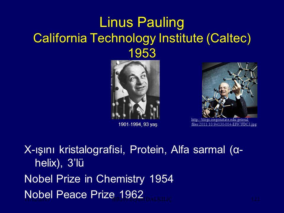 11.12.2015122 Linus Pauling California Technology Institute (Caltec) 1953 X-ışını kristalografisi, Protein, Alfa sarmal (α- helix), 3'lü Nobel Prize in Chemistry 1954 Nobel Peace Prize 1962 BB203 Zeynel DALKILIÇ http://blogs.oregonstate.edu/getreal/ files/2011/10/94130-004-EF97FDC3.jpg 1901-1994, 93 yaş