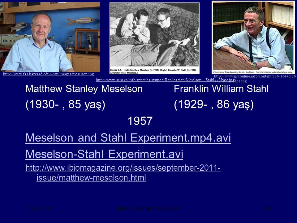 11.12.2015128 Matthew Stanley MeselsonFranklin William Stahl (1930-, 85 yaş)(1929-, 86 yaş) 1957 Meselson and Stahl Experiment.mp4.avi Meselson-Stahl