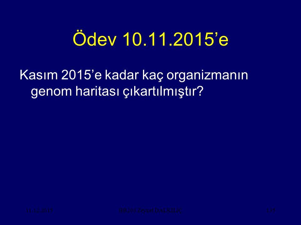 11.12.2015135 Ödev 10.11.2015'e Kasım 2015'e kadar kaç organizmanın genom haritası çıkartılmıştır? BB203 Zeynel DALKILIÇ