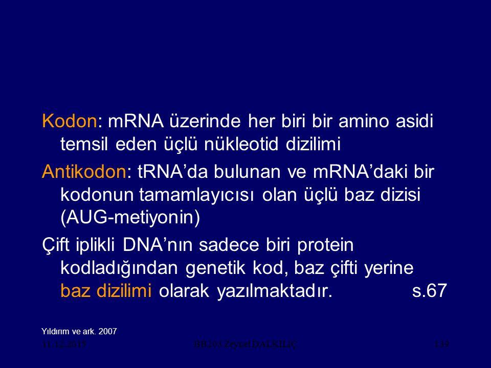 11.12.2015139 Kodon: mRNA üzerinde her biri bir amino asidi temsil eden üçlü nükleotid dizilimi Antikodon: tRNA'da bulunan ve mRNA'daki bir kodonun ta