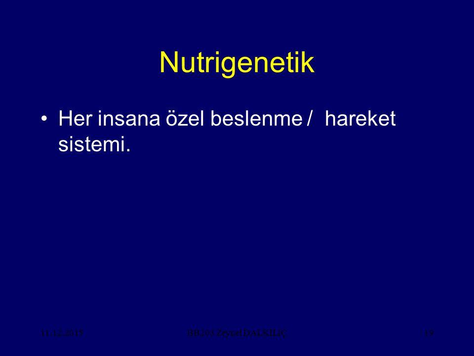 Nutrigenetik Her insana özel beslenme / hareket sistemi. 11.12.2015BB203 Zeynel DALKILIÇ19