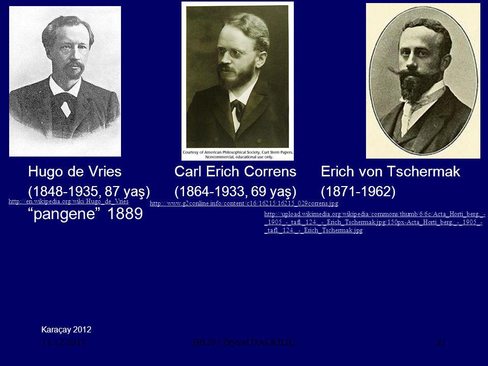 "11.12.201521 Hugo de VriesCarl Erich CorrensErich von Tschermak (1848-1935, 87 yaş)(1864-1933, 69 yaş)(1871-1962) ""pangene"" 1889 BB203 Zeynel DALKILIÇ"