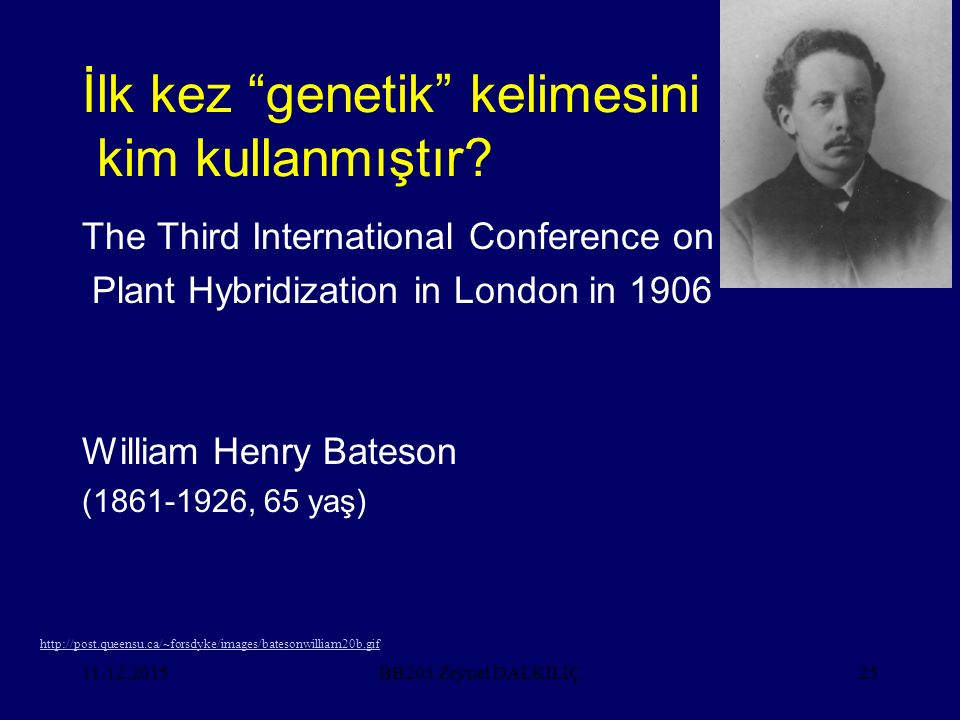 "11.12.201525 İlk kez ""genetik"" kelimesini kim kullanmıştır? The Third International Conference on Plant Hybridization in London in 1906 William Henry"