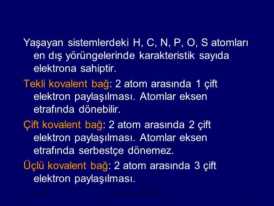 11.12.201533 Yaşayan sistemlerdeki H, C, N, P, O, S atomları en dış yörüngelerinde karakteristik sayıda elektrona sahiptir.
