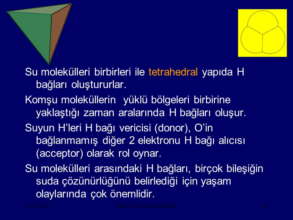 11.12.201541 Su molekülleri birbirleri ile tetrahedral yapıda H bağları oluştururlar. Komşu moleküllerin yüklü bölgeleri birbirine yaklaştığı zaman ar