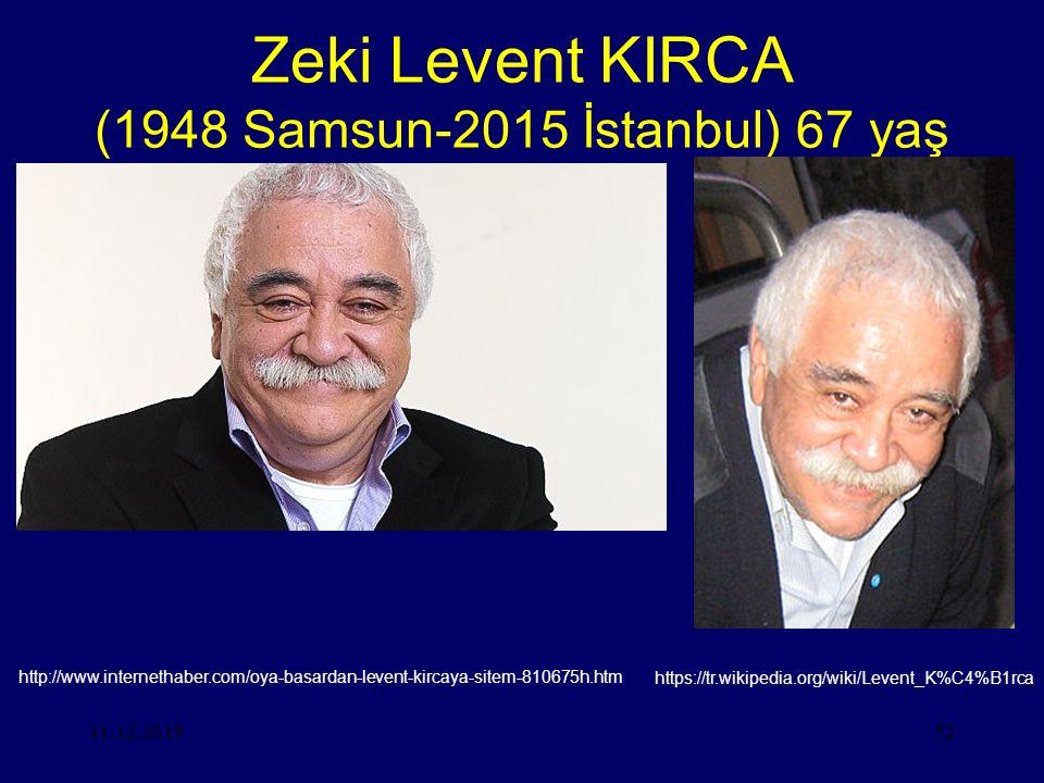 11.12.201552 Zeki Levent KIRCA (1948 Samsun-2015 İstanbul) 67 yaş http://www.internethaber.com/oya-basardan-levent-kircaya-sitem-810675h.htm https://tr.wikipedia.org/wiki/Levent_K%C4%B1rca