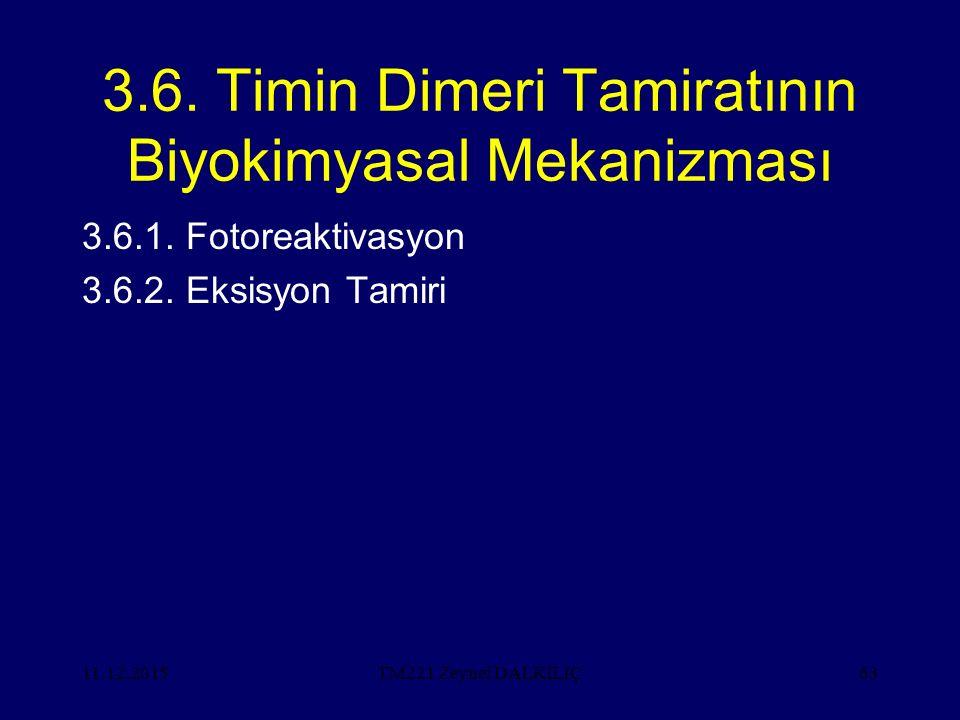 11.12.201563 3.6. Timin Dimeri Tamiratının Biyokimyasal Mekanizması 3.6.1. Fotoreaktivasyon 3.6.2. Eksisyon Tamiri TM221 Zeynel DALKILIÇ