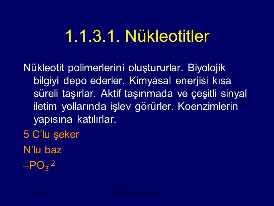 11.12.201571 1.1.3.1. Nükleotitler Nükleotit polimerlerini oluştururlar. Biyolojik bilgiyi depo ederler. Kimyasal enerjisi kısa süreli taşırlar. Aktif