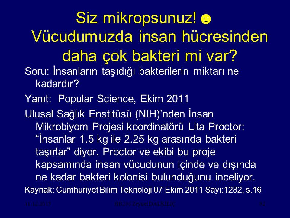 11.12.201582 Siz mikropsunuz!☻ Soru: İnsanların taşıdığı bakterilerin miktarı ne kadardır? Yanıt: Popular Science, Ekim 2011 Ulusal Sağlık Enstitüsü (