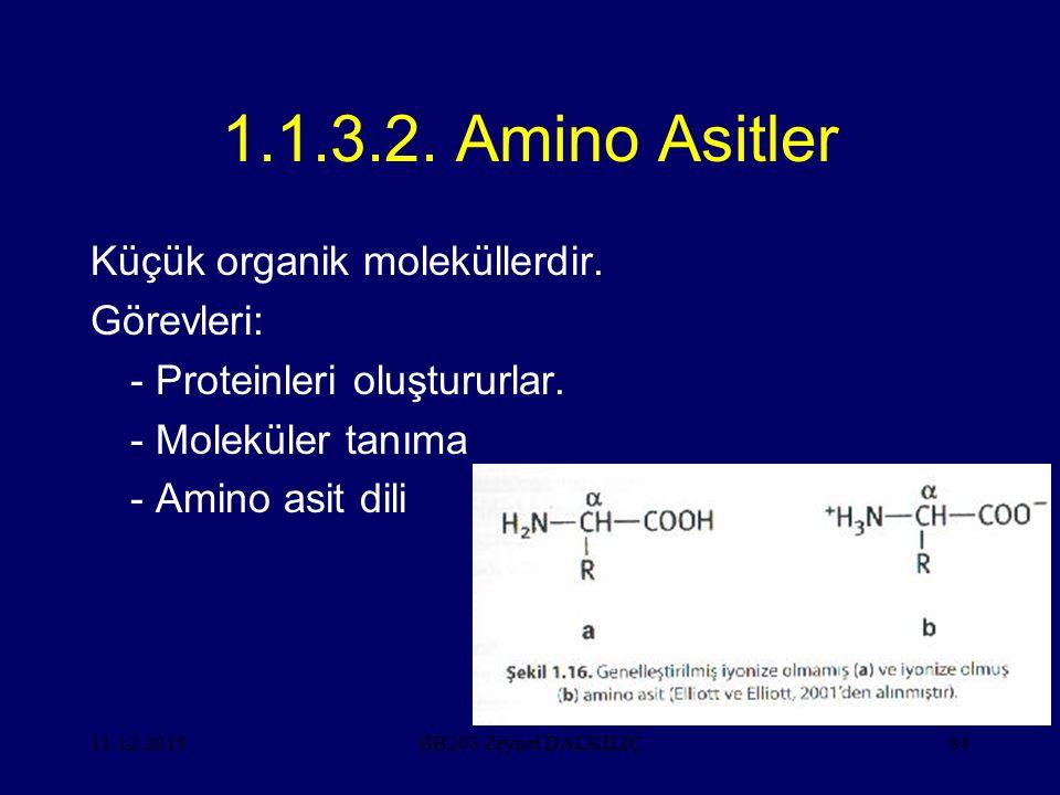 11.12.201584 1.1.3.2. Amino Asitler Küçük organik moleküllerdir. Görevleri: - Proteinleri oluştururlar. - Moleküler tanıma - Amino asit dili BB203 Zey