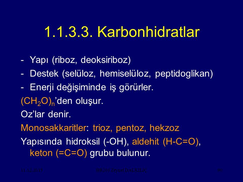 11.12.201590 1.1.3.3. Karbonhidratlar -Yapı (riboz, deoksiriboz) -Destek (selüloz, hemiselüloz, peptidoglikan) -Enerji değişiminde iş görürler. (CH 2