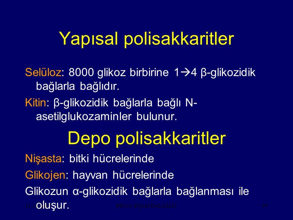 11.12.201595 Yapısal polisakkaritler Selüloz: 8000 glikoz birbirine 1  4 β-glikozidik bağlarla bağlıdır.