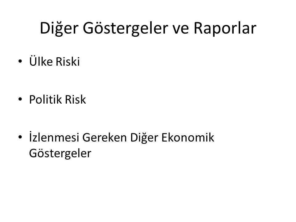 Diğer Göstergeler ve Raporlar Ülke Riski Politik Risk İzlenmesi Gereken Diğer Ekonomik Göstergeler