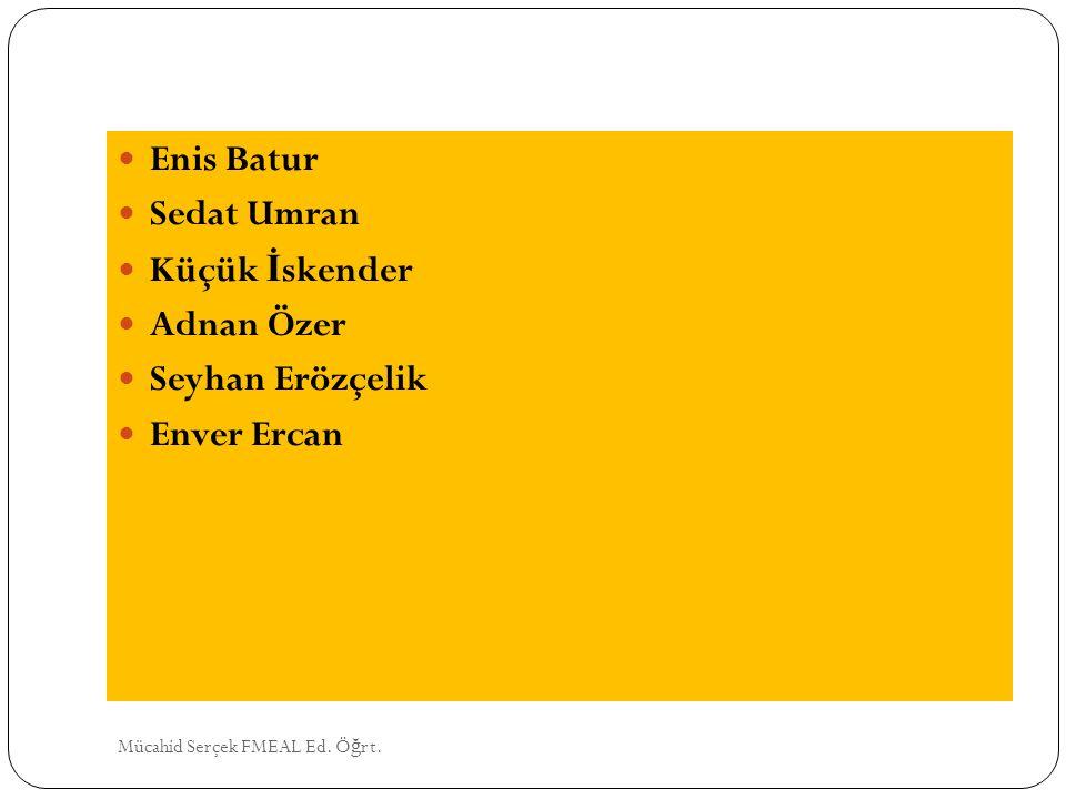 Enis Batur Sedat Umran Küçük İ skender Adnan Özer Seyhan Erözçelik Enver Ercan Mücahid Serçek FMEAL Ed. Ö ğ rt.