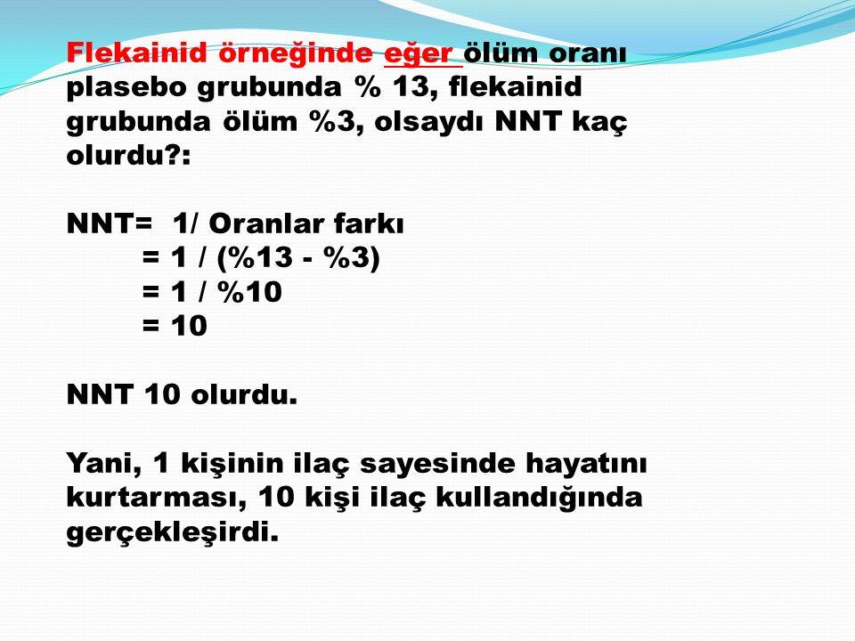 Flekainid örneğinde eğer ölüm oranı plasebo grubunda % 13, flekainid grubunda ölüm %3, olsaydı NNT kaç olurdu?: NNT= 1/ Oranlar farkı = 1 / (%13 - %3) = 1 / %10 = 10 NNT 10 olurdu.
