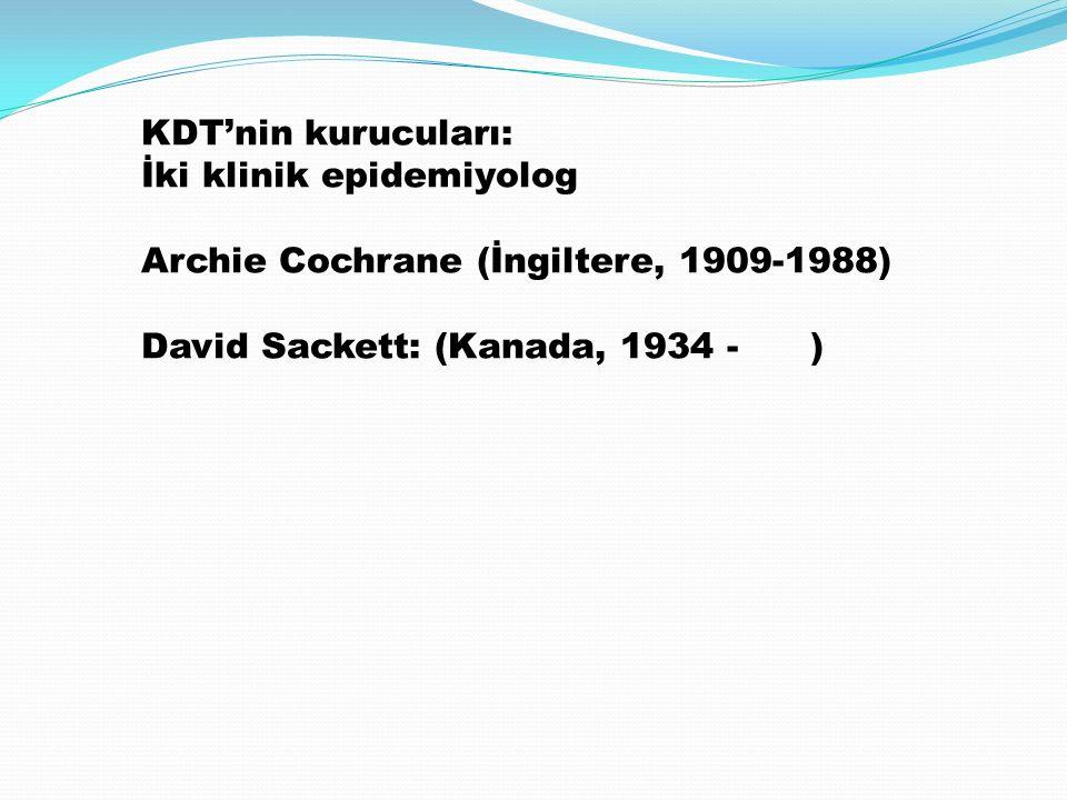 KDT'nin kurucuları: İki klinik epidemiyolog Archie Cochrane (İngiltere, 1909-1988) David Sackett: (Kanada, 1934 - )