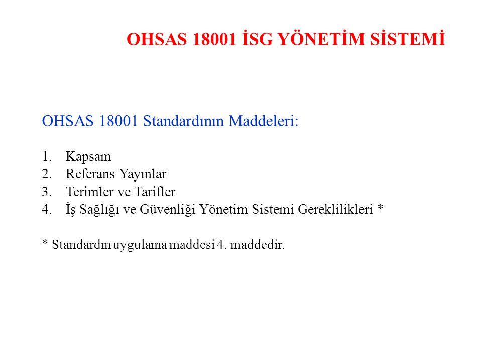 OHSAS 18001 İSG YÖNETİM SİSTEMİ OHSAS 18001 Standardının Maddeleri: 1.Kapsam 2.Referans Yayınlar 3.Terimler ve Tarifler 4.İş Sağlığı ve Güvenliği Yöne