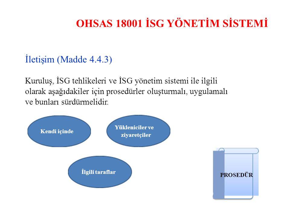 OHSAS 18001 İSG YÖNETİM SİSTEMİ İletişim (Madde 4.4.3) Kuruluş, İSG tehlikeleri ve İSG yönetim sistemi ile ilgili olarak aşağıdakiler için prosedürler