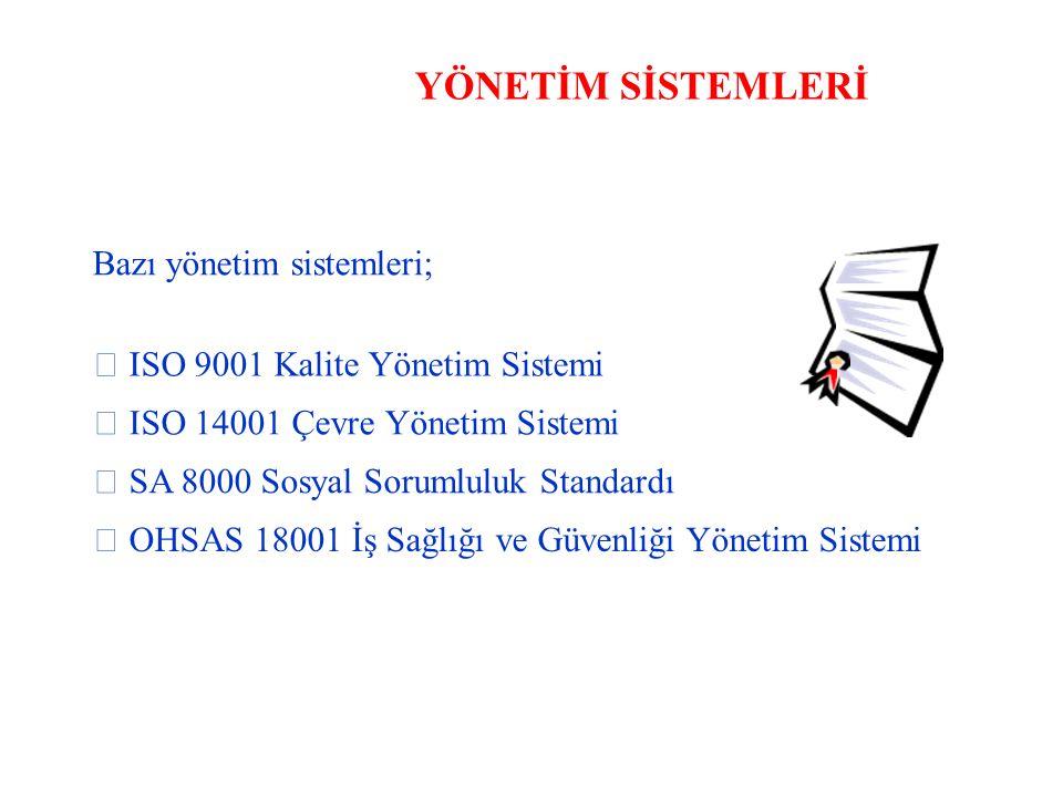 YÖNETİM SİSTEMLERİ Bazı yönetim sistemleri;  ISO 9001 Kalite Yönetim Sistemi  ISO 14001 Çevre Yönetim Sistemi  SA 8000 Sosyal Sorumluluk Standardı