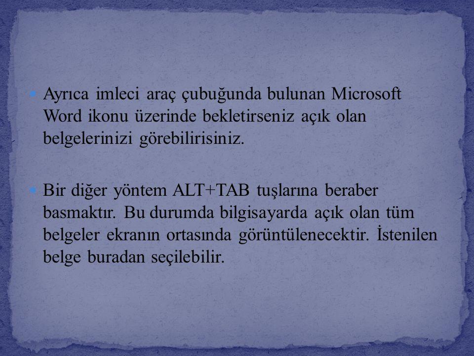 Ayrıca imleci araç çubuğunda bulunan Microsoft Word ikonu üzerinde bekletirseniz açık olan belgelerinizi görebilirisiniz. Bir diğer yöntem ALT+TAB tuş