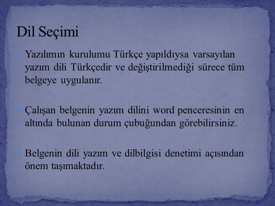 Yazılımın kurulumu Türkçe yapıldıysa varsayılan yazım dili Türkçedir ve değiştirilmediği sürece tüm belgeye uygulanır. Çalışan belgenin yazım dilini w
