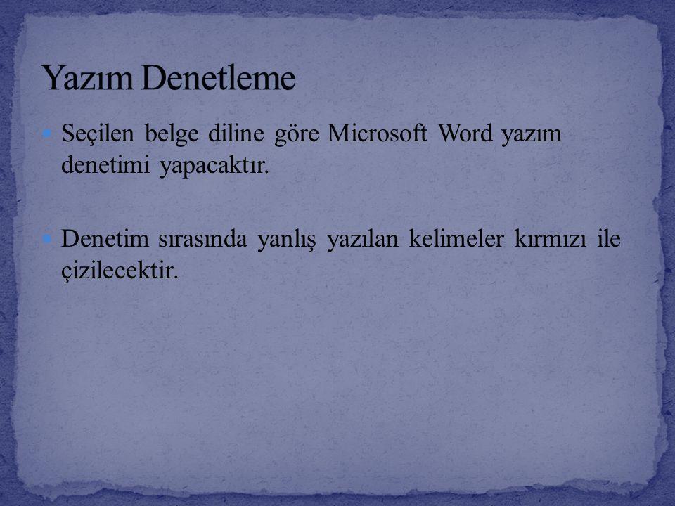 Seçilen belge diline göre Microsoft Word yazım denetimi yapacaktır. Denetim sırasında yanlış yazılan kelimeler kırmızı ile çizilecektir.