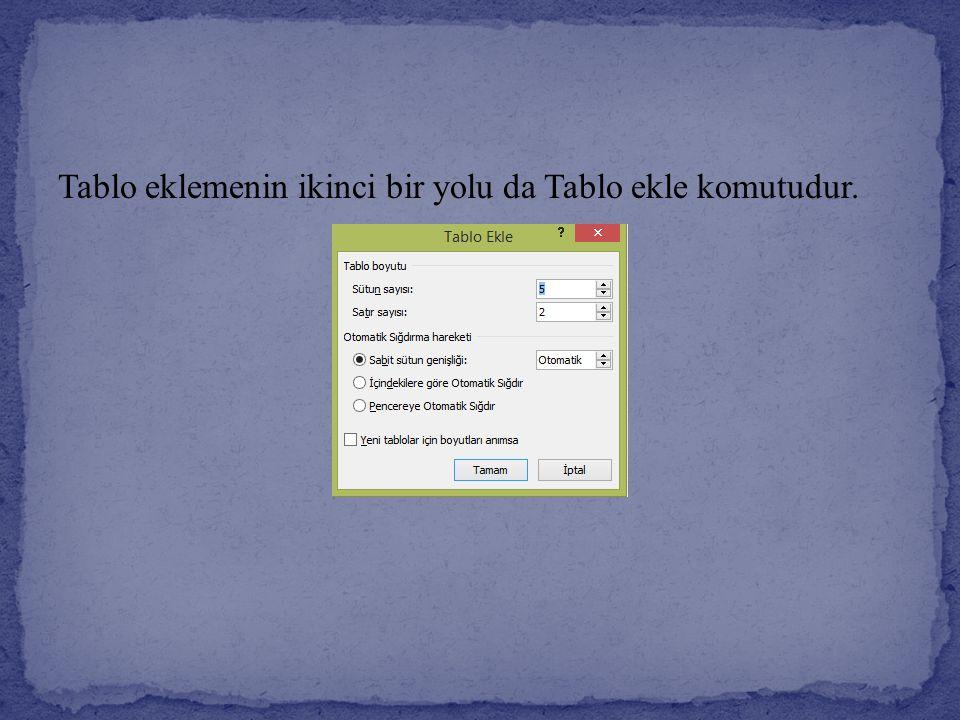Tablo eklemenin ikinci bir yolu da Tablo ekle komutudur.