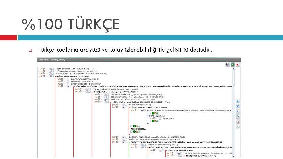 %100 TÜRKÇE  Türkçe kodlama arayüzü ve kolay izlenebilirli ğ i ile geliştirici dostudur.