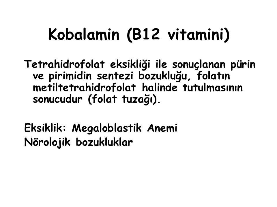 Kobalamin (B12 vitamini) Tetrahidrofolat eksikliği ile sonuçlanan pürin ve pirimidin sentezi bozukluğu, folatın metiltetrahidrofolat halinde tutulmasının sonucudur (folat tuzağı).