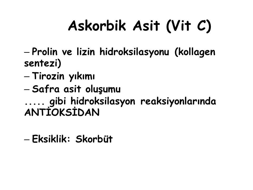 Askorbik Asit (Vit C) – Prolin ve lizin hidroksilasyonu (kollagen sentezi) – Tirozin yıkımı – Safra asit oluşumu.....