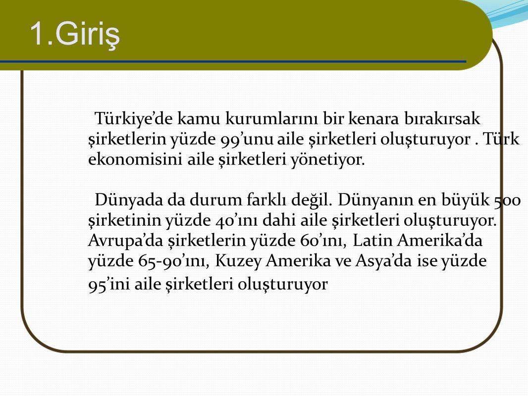 1.Giriş Türkiye'de kamu kurumlarını bir kenara bırakırsak şirketlerin yüzde 99'unu aile şirketleri oluşturuyor. Türk ekonomisini aile şirketleri yönet