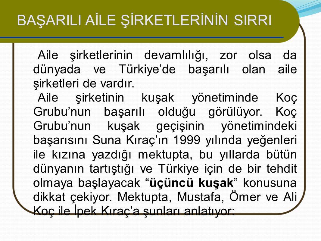 BAŞARILI AİLE ŞİRKETLERİNİN SIRRI Aile şirketlerinin devamlılığı, zor olsa da dünyada ve Türkiye'de başarılı olan aile şirketleri de vardır. Aile şirk
