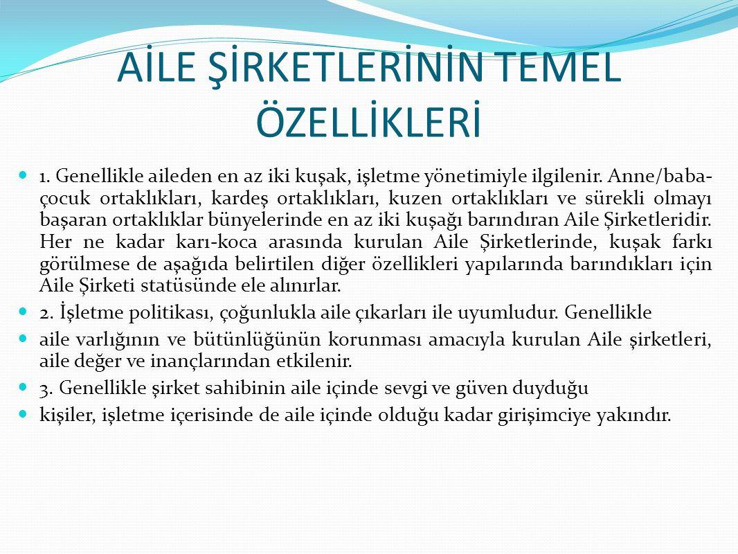 BAŞARILI AİLE ŞİRKETLERİNİN SIRRI Aile şirketlerinin devamlılığı, zor olsa da dünyada ve Türkiye'de başarılı olan aile şirketleri de vardır.