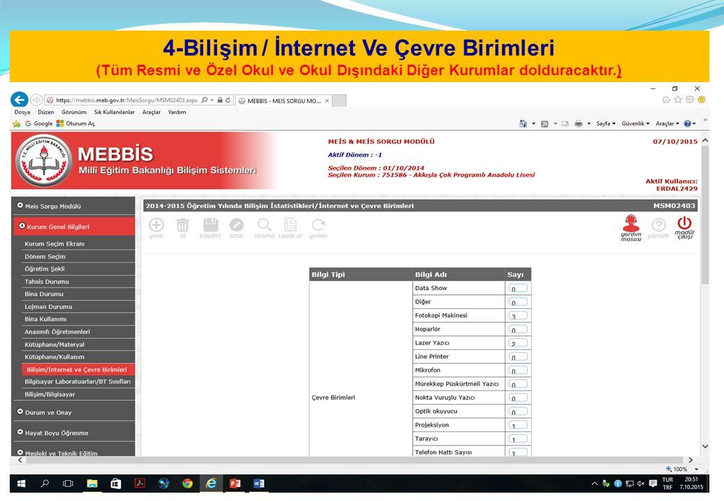 4-Bilişim / İnternet Ve Çevre Birimleri (Tüm Resmi ve Özel Okul ve Okul Dışındaki Diğer Kurumlar dolduracaktır.)