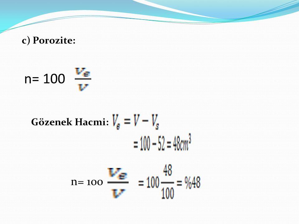c) Porozite: n= 100 Gözenek Hacmi: n= 100