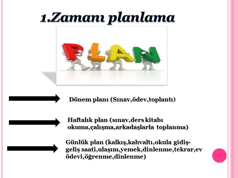 Dönem planı (Sınav,ödev,toplantı Dönem planı (Sınav,ödev,toplantı) Haftalık plan (sınav,ders kitabı okuma,çalışma,arkadaşlarla toplanma) Günlük plan (