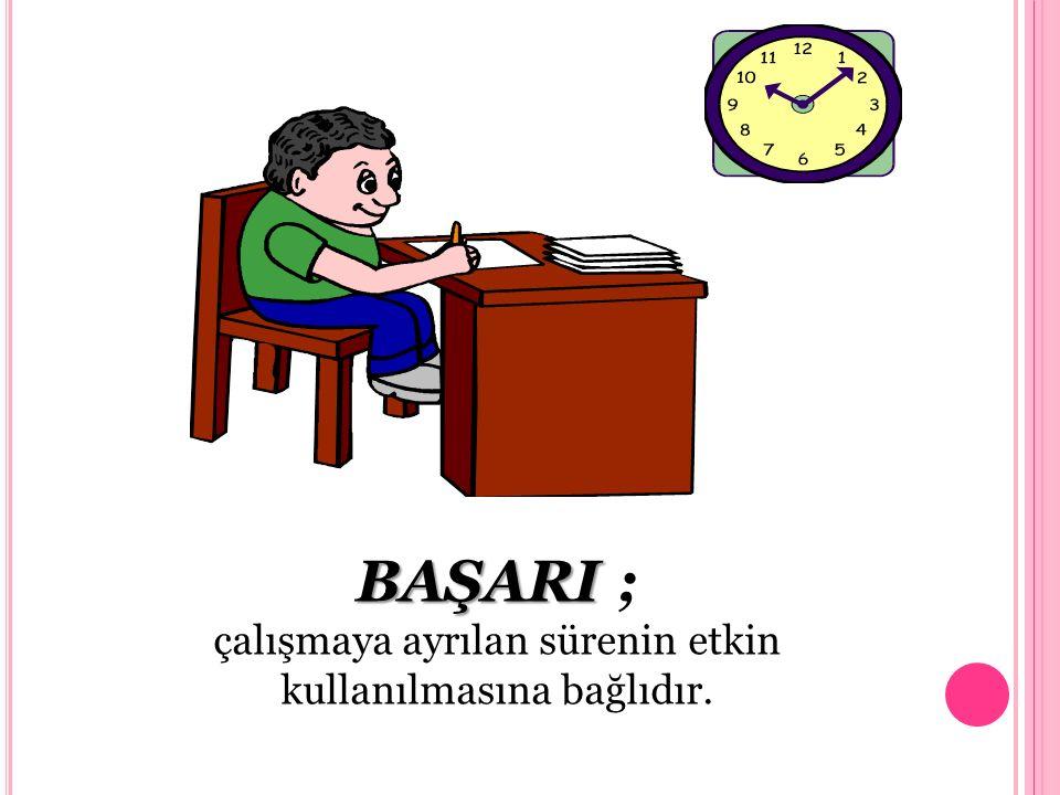 BAŞARI BAŞARI ; çalışmaya ayrılan sürenin etkin kullanılmasına bağlıdır.